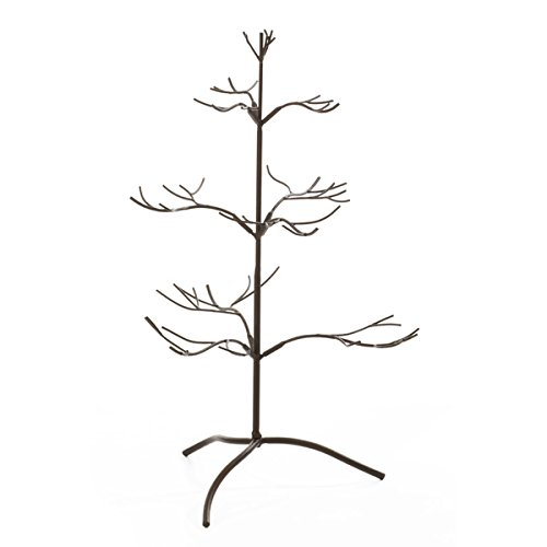 "Tripar Mahogany Metal Ornament Display Tree and Jewelry Organizer - 25"" Wire Ornament Stand and Necklace Holder Décor with 3 Tiers of Branches, Perfect for Wrought Iron Trees"