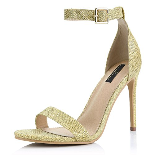 DailyShoes Women's Open Toe Ankle Buckle Strap Platform Casual Pump Heel Sandal Shoes, Gold Glitter, 8 B(M) US ()