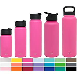 Simple Modern 22oz Summit Water Bottle + Extra Lid - Vacuum Insulated Stainless Steel Wide Mouth Hydro Travel Mug - BPA Free Aluminum Container - Cotton Candy Pink