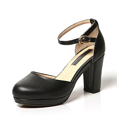 Zapatos de cuero de corte bajo/Cabeza redonda hebilla de tacones altos/Grueso con zapatos de suela gruesa B