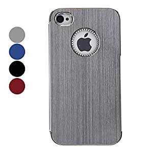 Simple Designed Solid Color Brushed Aluminum Hard Case for iPhone 4/4S (Assorted Colors) - COLOR#Silver