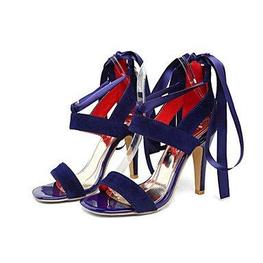 LvYuan Mujer-Tacón Stiletto-Innovador Zapatos del club-Sandalias-Vestido Informal Fiesta y Noche-Satén Terciopelo-Negro Azul Morado Rojo Red