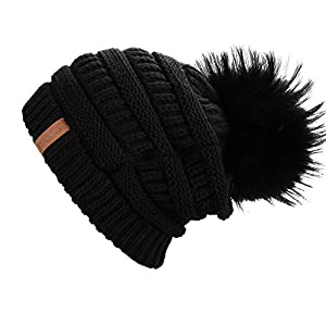 Winter Real Fur Pom Beanie Hat Warm Oversized Chunky Cable Knit Slouch Beanie Hats for Women