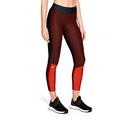 Jacquard Leggings - Under Armour Women's Heatgear Armour Jacquard Ankle Crop, Black (002)/Metallic Silver, Large