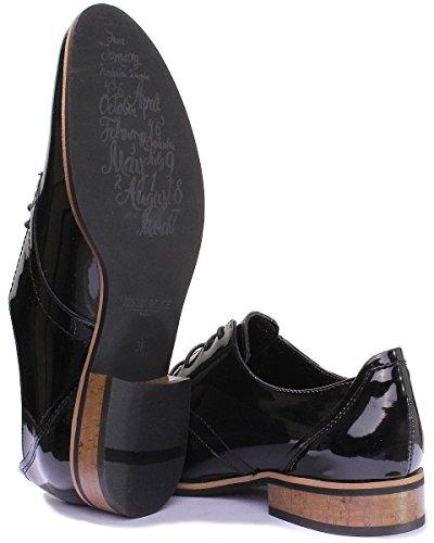 Scarpe Black Stringate Justin Donna Patent 3010 Reece FqAEwx67
