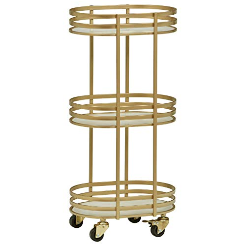 Rivet Contemporary Round Glass Serving Rolling 3-Shelf Bar Cart 32.28 H, Gold