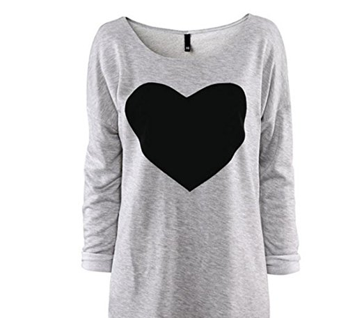Sinma Women Love Pattern Printed T-Shirt Long Sleeved Round Neck Blouse (L) (No Hassle Linen Shirt Jacket)
