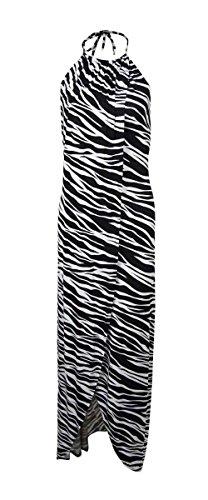 Kenneth Cole Reaction Zebra-Print Maxi Dress Cover Up, Black, L