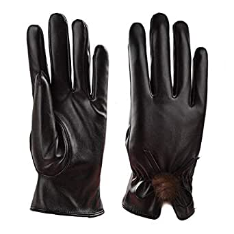 WUXiaodanDan Women's leather warm gloves bow and velvet gloves (Color : Black, Size : 17-19cm)