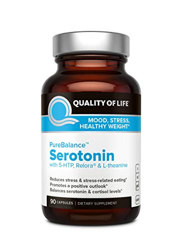 Quality of Life Pure Balance Serotonin Premium 5-HTP & Stress Supplement–Helps Boost Serotonin & Cortisol Levels–Mood & Sleep–Includes Relora, Rhodiola, Vitamin D3 & L-Theanine–90 Capsules