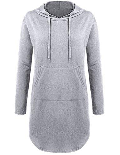 MISELON Women's Casual Long Sleeve Sweatshirt Dress Pockets Tunic Hoodie XL Gray (Top Hooded Tunic)