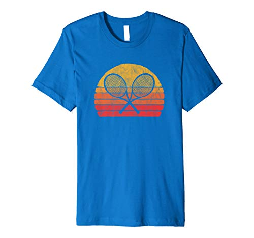 Crossed Tennis Racquet - Retro 80s Sun Vintage T-Shirt ()