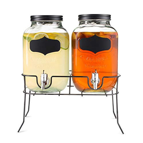 Dual Mason Jar Drink Dispensers with Metal Stand (4-Liters Each) Leakproof, Easy-Pull Spigots and Screw-On Lids Clear, Heavy-Duty Glass Chalkboard Sticker Labels (Mason Jar Giant Dispenser Beverage)