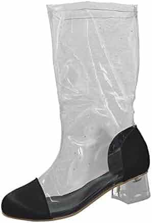 5b5e6de6c754 Creazrise Women s Clear Translucent Transparent Round Toe Ankle Bootie W  Perspex Block Heel (Transparent