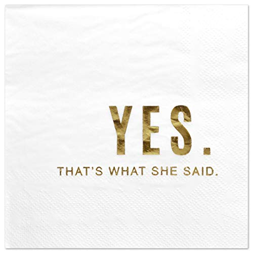(Andaz Press Yes Thats What She Said, Funny Quotes Cocktail Napkins, Gold Foil, Bulk 50-Pack Count 3-Ply Disposable Fun Beverage Napkins for Engagement Party, Bridal Shower, Bar, Bachelorette Party)