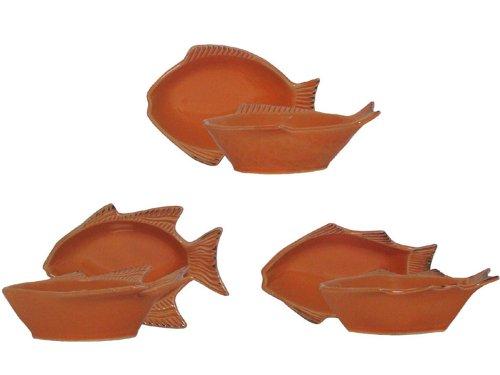 Stoneware Fish Coral Mini Bowls, Set of 6 - 5.5