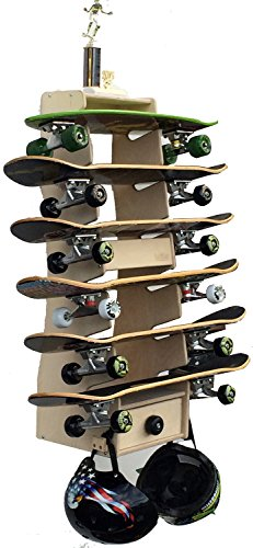 Sk8Rak 6 Board Skateboard Rack - Beautifully Designed and Crafted in the USA - 3,4, and 6-Board Racks for Regular and Longboards - Wall-Mounted or Free-Standing (Diego Outdoor Furniture Wood San)