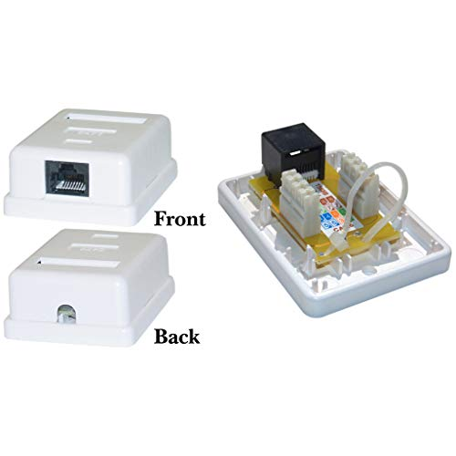 (GOWOS Cat6 Single Jack Surface Mount Box, Female, Unshielded, White)