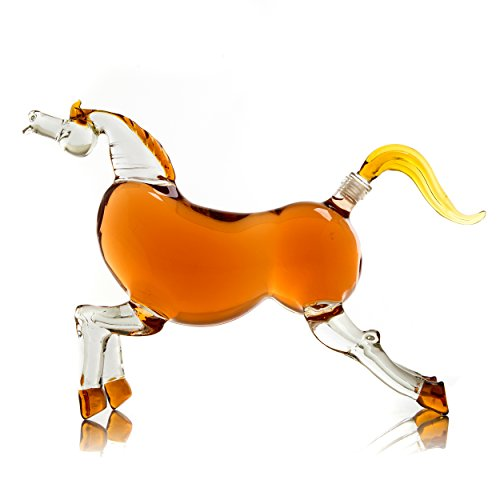 The Wine Savant Horse Derby Decanter for Bourbon, Whiskey, Scotch, Vodka, Rum, Tequila or Any Other Drink 1000ml Decanter (Horse)