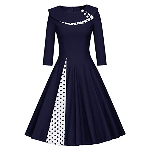 JESPER Fashion Womens Long Sleeve Vintage Dress O-Neck Retro Dot Print Patchwork Dress Navy Blue