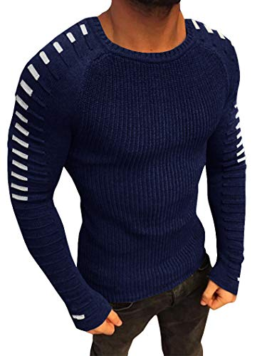 (Taoliyuan Mens Ribbed Knit Striped Sweater Winter Casual Long Sleeve Slim Fit Lightweight Pleated Pullover Sweater)
