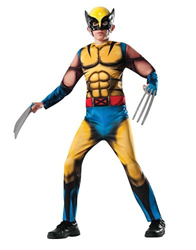 Wolverine Costume, Kids Marvel Comics Muscle X-Men Outfit, Large, Age 8 - 10 years, HEIGHT 4' 8 - 5' 0 by (Wolverine Muscle Costume)