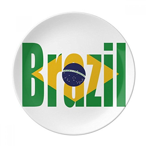 (Brazil Country Flag Name Dessert Plate Decorative Porcelain 8 inch Dinner Home)