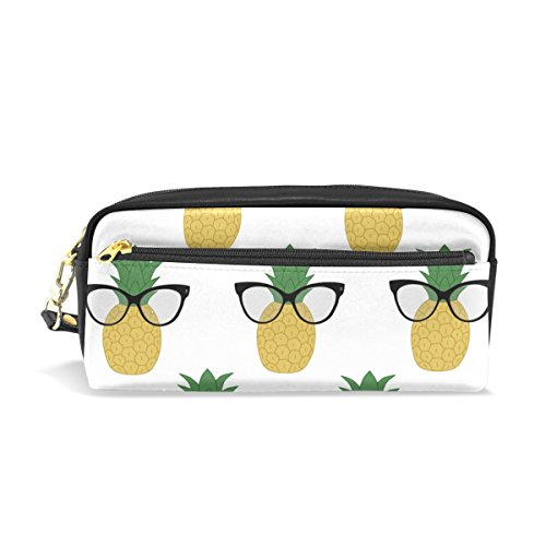 Sunlome Students PU Leather Cute Sunglass Pineapple Stationary Pencil Case Pen Bag Pouch Makeup Cosmetic - Website Super Sunglasses