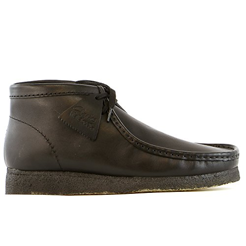 CLARKS Men's Wallabee B, Black Leather, 10.5 M US