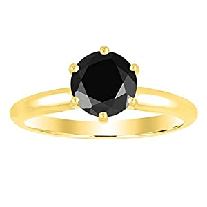 1/2 0.5 Carat 14K Yellow Gold Round Black Diamond Solitaire Ring (AAA Quality)