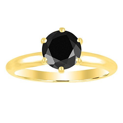 1/2 - 5 Carat Total Weight Round 14K Yellow Gold Round Black Diamond Ring (AAA Quality)