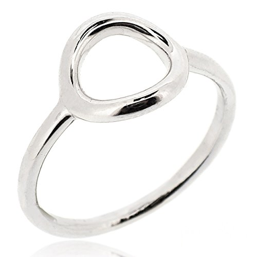 SOVATS Small Open Circle Ring For Women 925 Sterling Silver Rhodium Plated - Simple, Stylish &Trendy Nickel Free Ring, Size 7