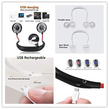 Schwarz USB Ventilator PortableTragbarer kleiner L/üfter,Taschenventilator Mini Wiederaufladbare Reisel/üfter,Kopfh/örer Design Wearable Neckband-L/üfter Necklance-L/üfter mit Led Doppeltem Windkopf