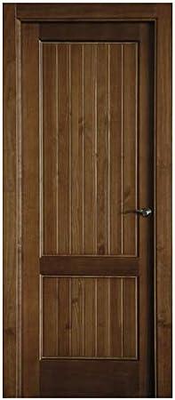 Block puerta de interior teñida color + acabado al agua para exteriores mate o satinado. Batiente de 90x20 + tapeta lisa de 220x90x10 / 0.8. Herrajes color Inox/Latón/Negro/Cuero (manilla incluida).
