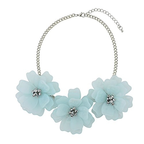 Bocar Statement Flower Necklace Handmade Bib Collar Jewelry for Women (NK-10454-Baby Blue)