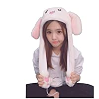 Bestmaple Funny Plush Bunny Hat Cap/Cute Animal Hat/Head-wear Costume Accessory with The Ears Popping up When Pressing The Paws