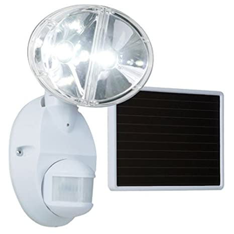 EATON Lighting MSLED180W Motion Activated Solar Powered LED Floodlight 180 Degrees Up To 70 Foot White