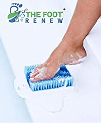 The Foot Renew is a lightweight foot scrubber that suctions to your shower floor, making foot hygiene safe and easy.