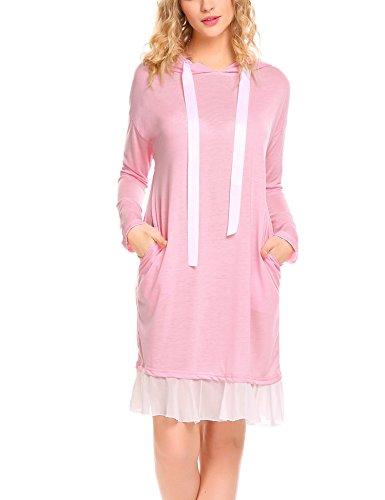 Hersife Women's Sweatshirt Crewneck Tunic Hoodie Dress With Chiffon Hem