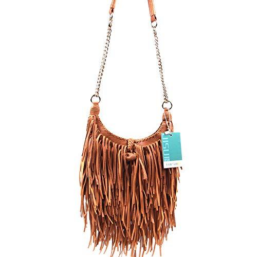 LUI SUI Women's Fashion Fringed Shoulder Bag Tassel Cross Body Bags (Brown)