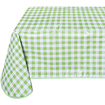 Amazon Com Retro Yellow Oilcloth Tablecloth With Blue