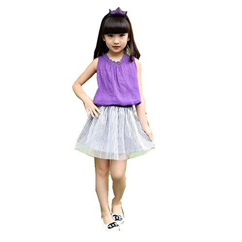 FTSUCQ Girls Tank Top with Shorts Skirt,Two-pieces Sets,Purple 160 (Cute 11 Year Old Guys)