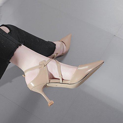 Schuhe High Mund Farbe Heels Nude Heel Sexy Frauen Damen Gericht Stilettos Spitz Flachen wf7HqS