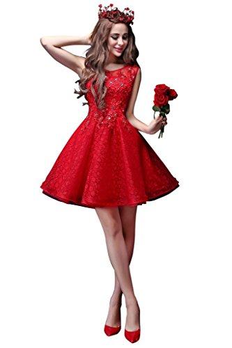 Besswedding Bijou Longueur Au Genou Féminin Sans Manches Avec Des Robes De Mariée De Mariée De Perles Rouges