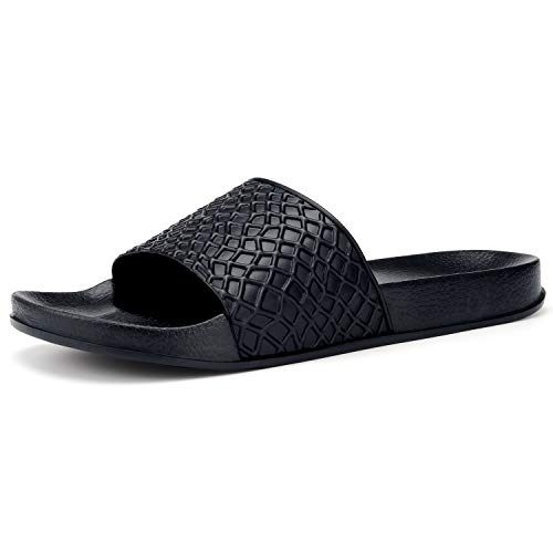 Raydem Men's Slide Sandals with Arch Support for Shower Pool Beach Sports Gym Spa Trip Outdoor House Black 8