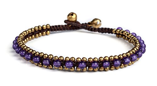 (Lannaclothesdesign Womens Beaded Anklet with Brass Beads Adjustable 9.5
