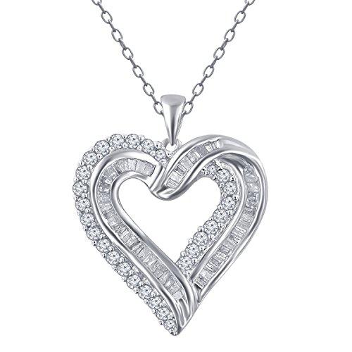 1.00 Cttw Diamond Heart Pendant in Sterling Silver (1.00cttw Diamond)