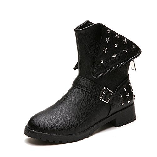 Btrada Womens Stylish Round Toe Studded Rivets Belt Elastic Mid Heel Ankle Boots Black Boots