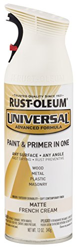 Rust-Oleum 282816 Universal All Surface Spray Paint, 12 oz, Matte French Cream