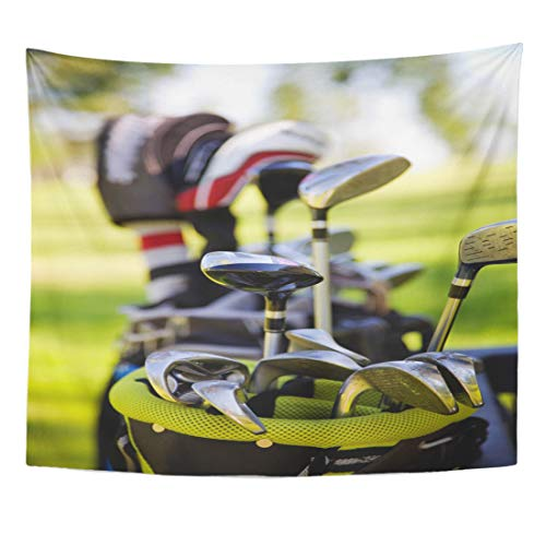 Emvency Tapestry Course Green Dirty Golf Clubs Silver Car Buggy Golfer Caddy Golfclubs Home Decor Wall Hanging for Living Room Bedroom Dorm 60x80 Inches